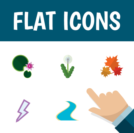 Flat Icon Ecology Set Of Tributary, Floral, Canadian And Other Vector Objects Illustration