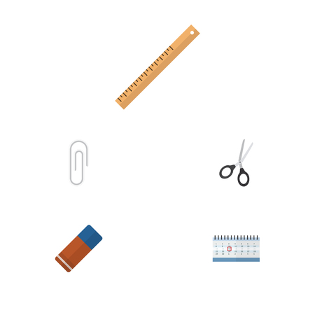 Flat Icon Tool Set Of Clippers, Date Block, Straightedge And Other Vector Objects Illustration
