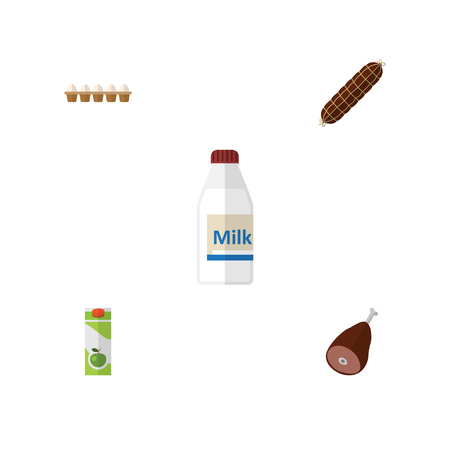 Flat Icon Eating Set Of Eggshell Box, Smoked Sausage, Bottle And Other Vector Objects Illustration