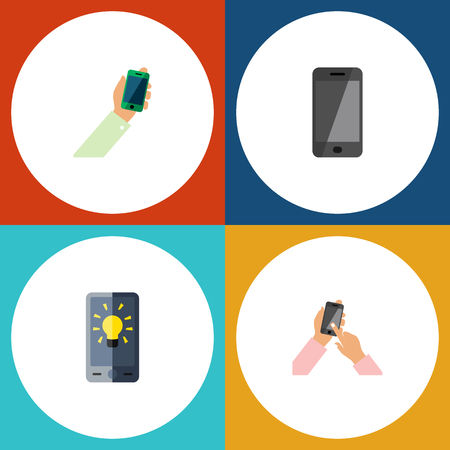 Flat Icon Smartphone Set Of Telephone, Screen, Keep Phone And Other Vector Objects