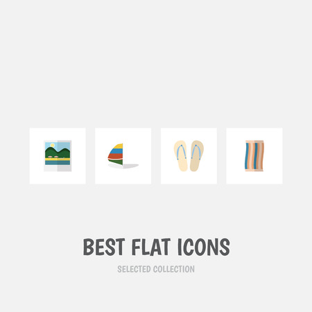 Flat Icon Season Set Of Surfing, Beach Sandals , Wiper Vector Objects