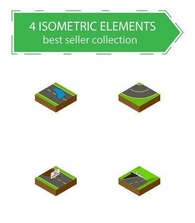 Isometric Road Set Of Subway, Road, Plash And Other Vector Objects Illustration