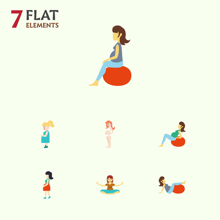 Flat Icon Pregnancy Set Of Sport, Meditation, Pregnancy And Other Vector Objects Ilustração