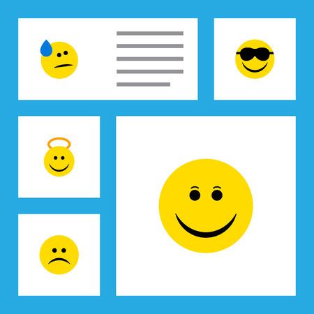 Flat Icon Emoji Set Of Happy, Tears, Angel y otros objetos.