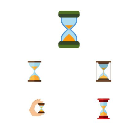 sand watch: Flat Icon Hourglass Set Of Instrument, Hourglass, Clock And Other Objects.