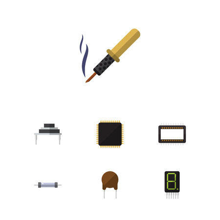 Flat icon appliance set of calculate, destination, cpu and other objects.