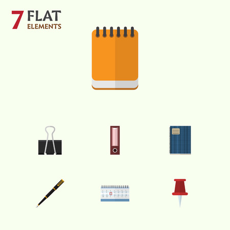 Flat Icon Tool Set Of Nib Pen, Notepaper, Paper Clip And Other Vector Objects