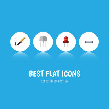 Flat Icon Device Set Of Repair, Recipient, Resistor And Other Vector Objects
