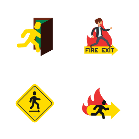 run way: Flat Icon Door Set Of Fire Exit, Direction Pointer, Open Door And Other Vector Objects Illustration