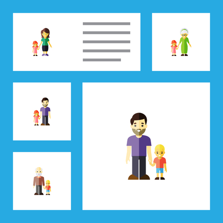 Flat Icon Relatives Set Of Grandchild, Father, Daugther Vector Objects