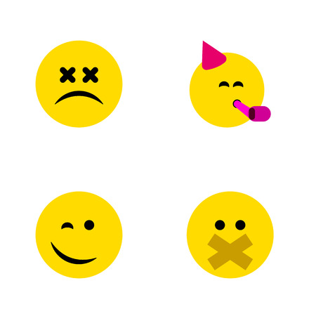 Flat Icon Emoji Set Of Winking, Party Time Emoticon, Cross-Eyed Face And Other Vector Objects