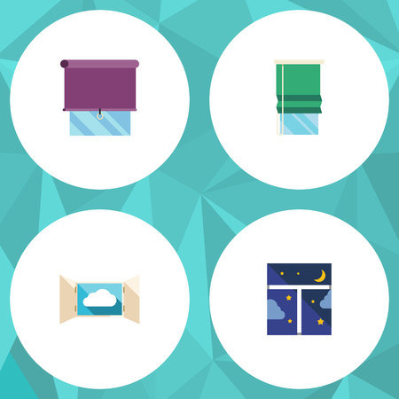 Flat Icon Glass Set Of Cloud, Frame, Balcony And Other Vector Objects