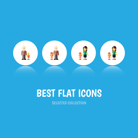Flat Icon Family Set Of Grandson, Grandpa, Daugther Vector Objects