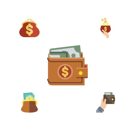 billfold: Flat Icon Purse Set Of Purse, Saving, Money And Other Vector Objects Illustration