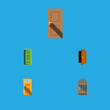 doorknob: Flat Icon Approach Set Of Exit, Entry, Wooden Fence And Other Vector Objects