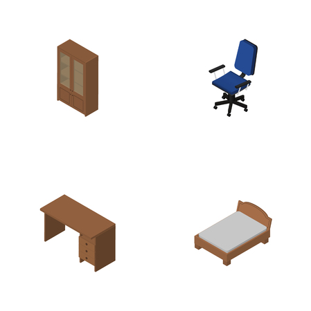 Isometric Design Set Of Office, Table, Bedstead And Other Vector Objects