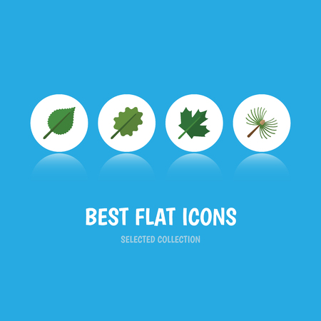 Flat Icon Ecology Set Of Linden, Alder, Oaken And Other Vector Objects Illustration