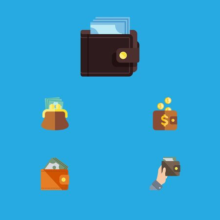 billfold: Flat Icon Wallet Set Of Pouch, Billfold, Payment And Other Vector Objects. Also Includes Pouch, Saving, Payment Elements.