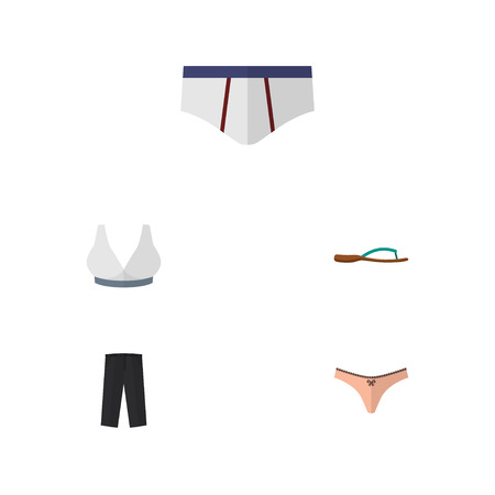 Flat Icon Garment Set Of Lingerie, Pants, Brasserie And Other Vector Objects. Also Includes Trousers, Pants, Underclothes Elements.