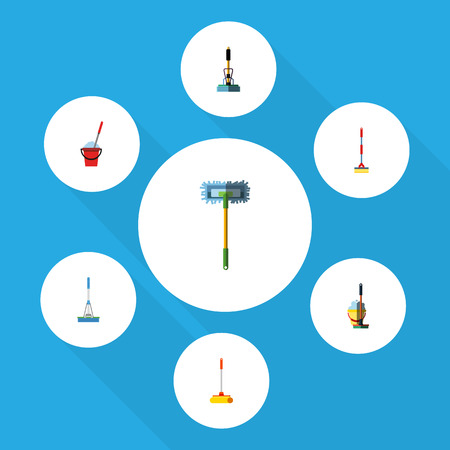 scrubbing: Flat Icon Cleaner Set Of Mop, Cleaning, Bucket And Other Vector Objects. Also Includes Sweeper, Cleaner, Besom Elements.