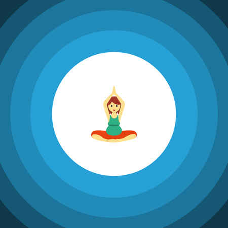 pregnancy exercise: Isolated Meditation Flat Icon. Yoga Vector Element Can Be Used For Pregnant, Woman, Meditation Design Concept.