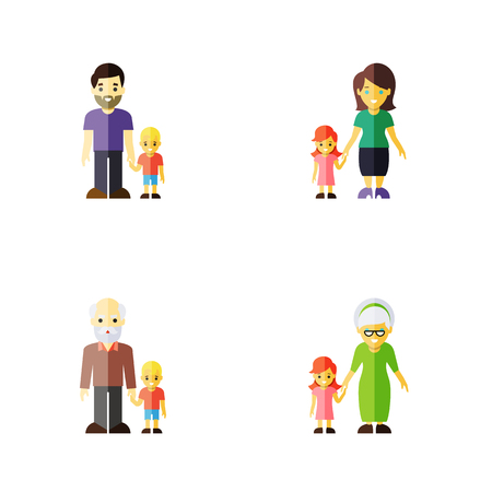 Flat Icon Relatives Set Of Grandson, Grandchild, Daugther Vector Objects