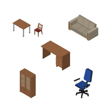 arredamento classico: Isometric Furnishing Set Of Office, Cabinet, Table And Other Vector Objects. Also Includes Office, Armchair, Desk Elements. Vettoriali