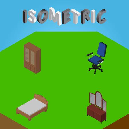 arredamento classico: Set di progettazione isometrica di ufficio, cassetto, armadietto e altri oggetti vettoriali. Include anche sedia, ufficio, elementi di credenza. Vettoriali