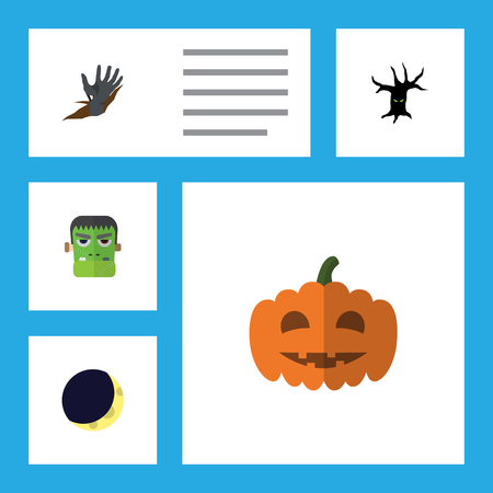 Flat Icon Celebrate Set Of Zombie, Gourd, Crescent And Other Vector Objects