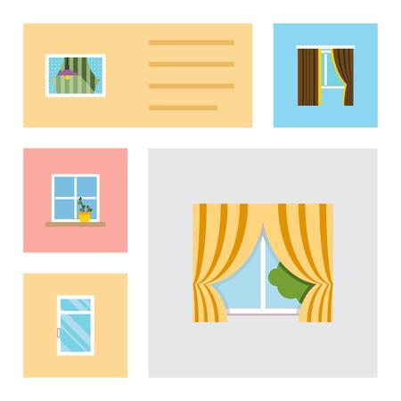 Flacher Ikonengattersatz von sauberem, Blumentopf, von Vorhang und von anderen Gegenständen. Standard-Bild - 89064894