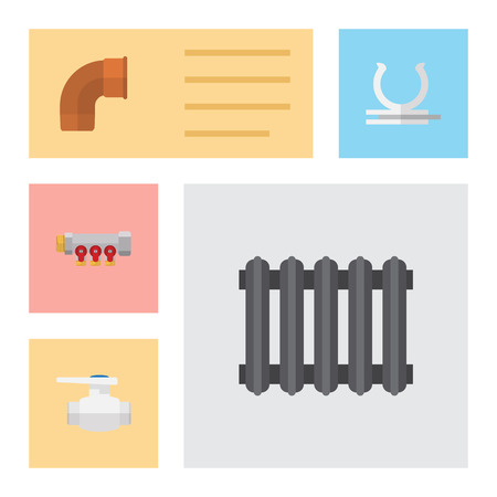 Flat Icon Industry Set Of Flange, Heater, Pipework And Other Vector Objects. Also Includes Radiator, Heater, Holder Elements.