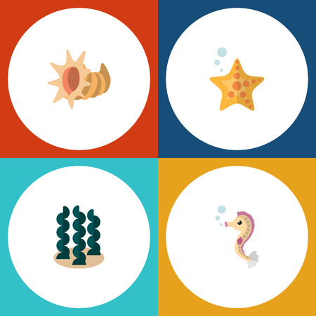 Flat Icon Nature Set Of Sea Star, Seashell, Hippocampus And Other Vector Objects. Also Includes Seashell, Alga, Starfish Elements. Illustration