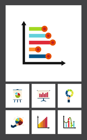 Flat icon graph set of chart, infographic, pie bar and other vector objects.