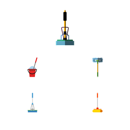 Flat Icon Cleaner Set Of Bucket, Cleaner, Besom And Other Vector Objects. Also Includes Sweeper, Mop, Sweep Elements. Illustration