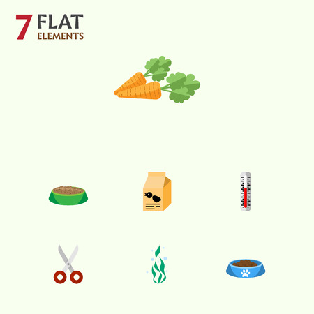 Flat Icon Pets Set Of Root Vegetable, Seaweed, Rabbit Meal And Other Vector Objects. Also Includes Bowl, Vegetable, Seaweed Elements.