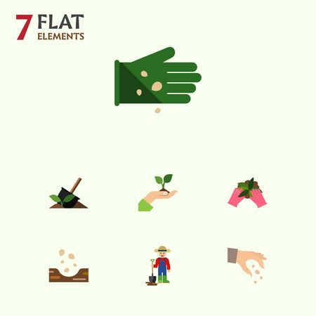 Flat Icon Sow Set Of Glove, Sow, Plant And Other Vector Objects. Also Includes Soil, Hand, Care Elements. Illustration