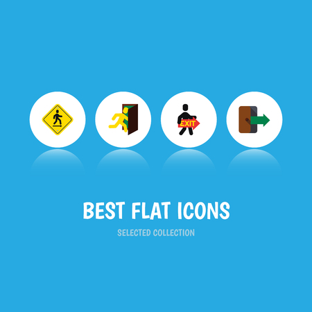 doorknob: Flat Icon Emergency Set Of Directional, Exit, Open Door And Other Vector Objects. Also Includes Board, Pointer, Exit Elements.