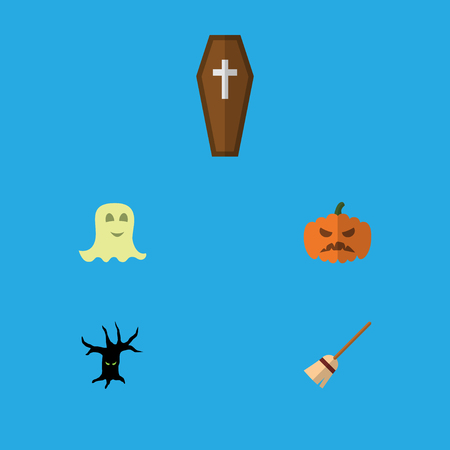 Flat Icon Celebrate Set Of Spirit, Pumpkin, Terrible Halloween And Other Vector Objects. Also Includes Specter, Broom, Casket Elements. Illustration