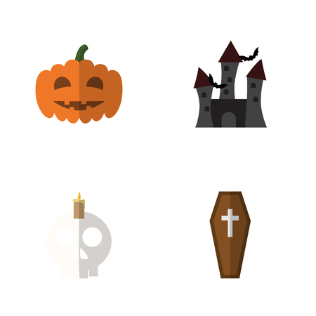 Flat Icon Festival Set Of Casket, Cranium, Fortress And Other Vector Objects. Also Includes Gourd, Halloween, Dead Elements.
