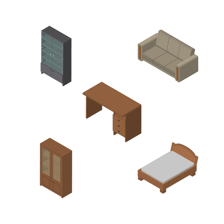 Isometric Furnishing Set Of Sideboard, Cabinet, Table And Other Vector Objects. Also Includes Drawer, Table, Cupboard Elements.