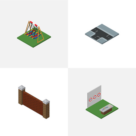 Isometric Urban Set Of Barrier, Seesaw, Crossroad And Other Vector Objects. Also Includes Way, Archery, Game Elements.