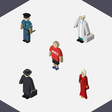 Isometric People Set Of Medic, Female, Officer And Other Vector Objects. Also Includes Officer, Doctor, Boy Elements.
