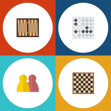 Flat Icon Play Set Of Dice, Chess Table, People And Other Vector Objects. Also Includes Backgammon, Dice, Gomoku Elements.