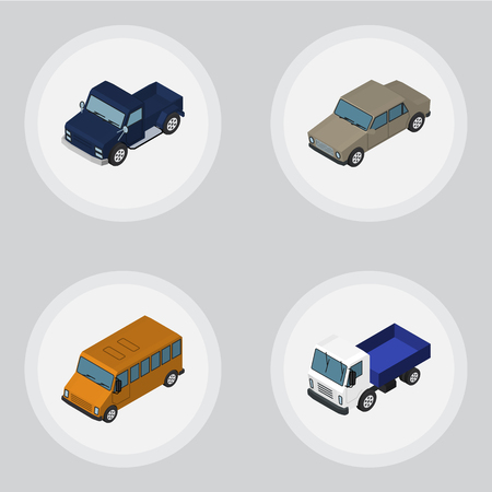 Isometric Automobile Set Of Lorry, Autobus, Auto And Other Vector Objects. Also Includes Lorry, Bus, Sedan Elements. Illustration