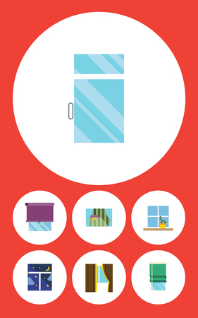 Flat Icon Glass Set Of Clean, Frame, Glazing And Other Vector Objects. Also Includes Night, Glass, Curtain Elements.