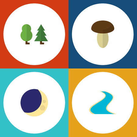 Flat Icon Natural Set Of Champignon, Forest, Tributary And Other Vector Objects. Also Includes Estuary, Wood, Mushroom Elements.