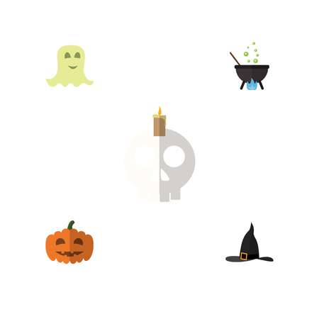 Flat Icon Celebrate Set Of Cranium, Gourd, Spirit And Other Vector Objects. Also Includes Pumpkin, Boiling, Hat Elements.