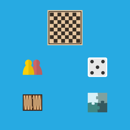 Flat Icon Entertainment Set Of Jigsaw, Dice, Chess Table And Other Vector Objects. Also Includes Chess, Enigma, Multiplayer Elements.