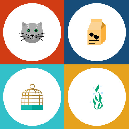 Flat Icon Pets Set Of Kitty, Bird Prison, Nutrition Box And Other Vector Objects. Also Includes Plant, Pussy, Bird Elements.