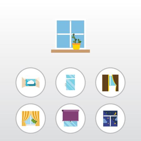 Flat Icon Frame Set Blumentopf, Verglasung, sauber und andere Vektor-Objekte. Beinhaltet auch Vorhang, Blume, Fensterelemente. Standard-Bild - 89347833